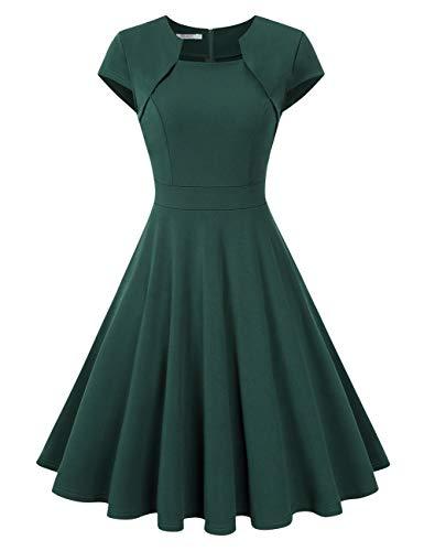 KOJOOIN Damen 1950er Vintage Kleid/Retro Abendkleid/Cocktailkleid/Rockabilly Faltenrock Taillenbetontes Kleid Knielang Dunkelgrün XL