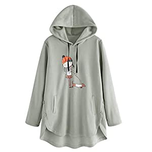 Toasye Damen Lose Kapuzenpullover Mit Kapuze Frauen Verlieren Beiläufiges Karikaturdruck Unregelmäßiges Rand-Mit Sweatshirt