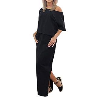 Zarupeng Frauen Lange Maxi Abendkleider, Sommer Kurzarm Kleid mit Tasche Lose Strandkleider Damen Tunikakleid Elegant A-Linie Partykleider (XL, Schwarz)