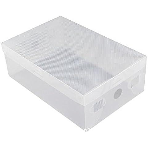 5x claro zapato cajas de almacenamiento apilable de plástico plegable caja organizadora con tapa
