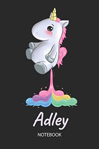 28269b1fef06 Adley - Notebook: Blank Lined Personalized & Customized Name Rainbow  Farting Unicorn School Notebook / Journal for Girls & Women. Funny Unicorn  Desk ...