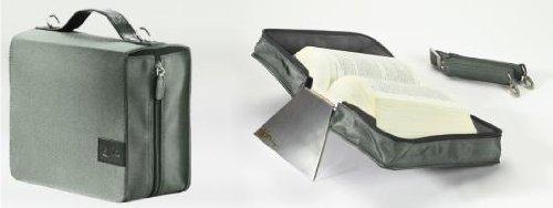 SchönfelderSkin, (Nylon-Leder) silverstone (steingrau) mit Alu-Buchstütze: Buchhüllen-Tasche mit Aluminium-Buchstütze und Tragegurt in Material Nylon & Leder, Farbe silverstone (steingrau) - Aluminium-buch
