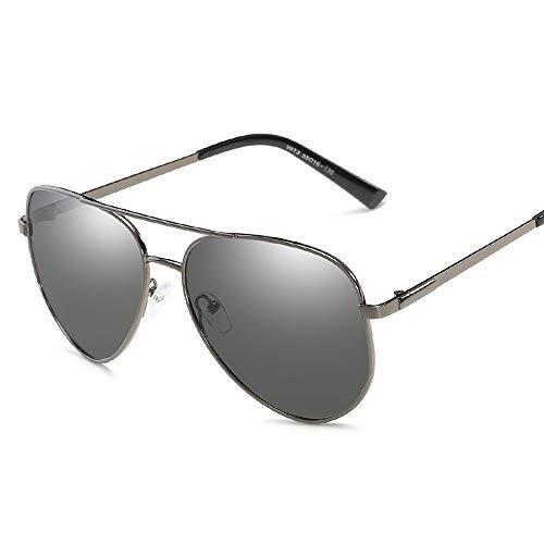Sunglasses LWS L.W.SURL Männer polarisierte Sonnenbrille runder Rahmen Verfärbung Frosch Spiegel für UV-Schutz im Freien (Color : Grau, Size : Kostenlos)