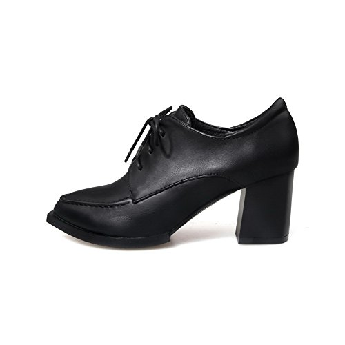 VogueZone009 Femme à Talon Correct Couleur Unie Lacet Fermeture D'Orteil Pointu Chaussures Légeres Noir