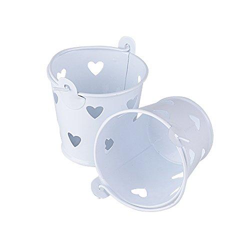 20 pz mini secchiello latta portaconfetti bomboniere segnaposto matrimonio cresima battesimo comunione festa vasetti bianco cuore