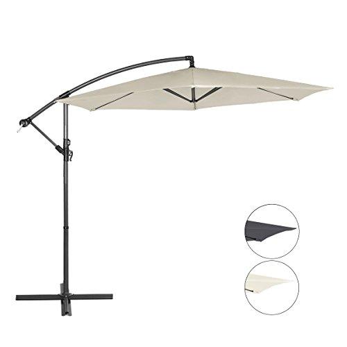 Sekey Ampelschirm 300 cm Sonnenschirm Gartenschirm Kurbelschirm Beige/Taupe mit Kurbelvorrichtung...
