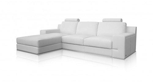 Torrenova Salon Canapé d'angle gauche classique Cuir Blanc