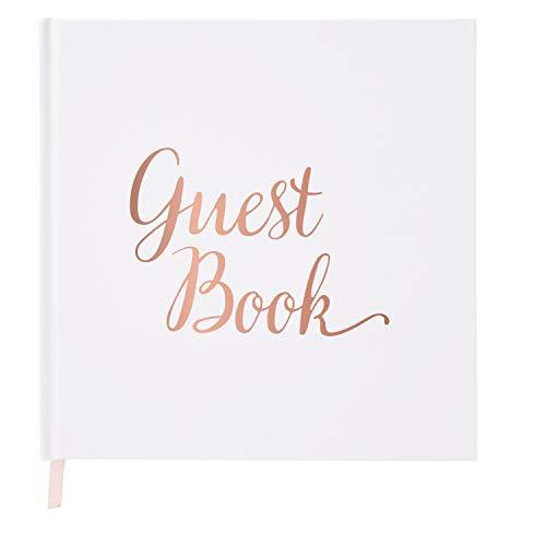 Gästebuch für Hochzeiten, blanko, Roségold & weißes Papier, ohne Linien, Registry Book, Roségold Folienstempel und 180 g/m² Papier, 32 Seiten, 64 Seiten quadratisch Liebe Hardback