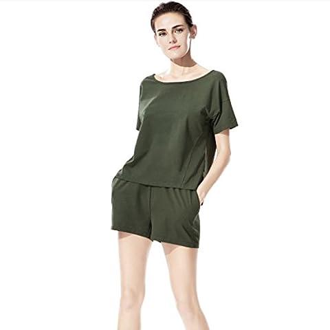 DMMSS Mince Pyjama Femmes Costume Short À Manches Courtes + Short 2 Pièces Ensemble De Simple Peut Porter Une Combinaison De Vêtements De Maison En Coton , Xxl