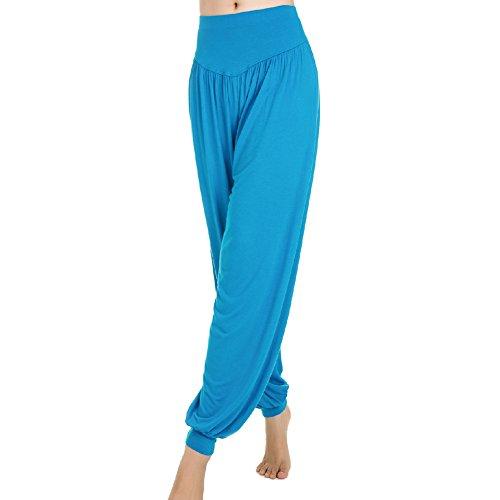 Femme Pantalons de Sport Yoga Souple 95% Modal Danse type Bloomer pants Lac bleu
