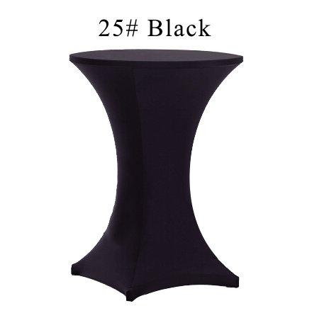 BLUELSS Nappe Grande étendue 10pcs 80x110cm Table bistro blanc Tissu Lycra Spandex Dry Bar à cocktails Tableau couvre l'événement pour les mariages,Black,60cm