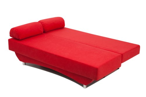 Schlafsofa Queens 186 x 80 cm, Mikrofaser, rot - 3
