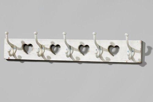 Garderobenleiste, Hakenleiste mit 4 Aussparungen in Herzform aus Holz, 5 Haken, ca. 65 cm x 9 cm x 13 cm  - Shabby Look