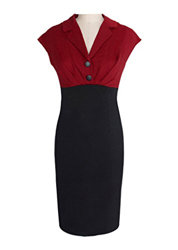 COMVIP -  Tailleur gonna  - Floreale - Donna Rosso scuro