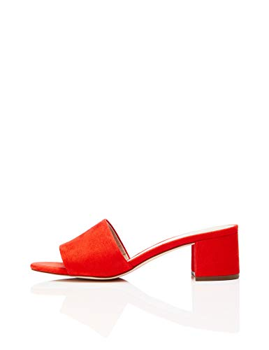 find. Block Heel Mule Peeptoe Sandalen, Orange Hot Coral, 39 EU - Block-sandalen