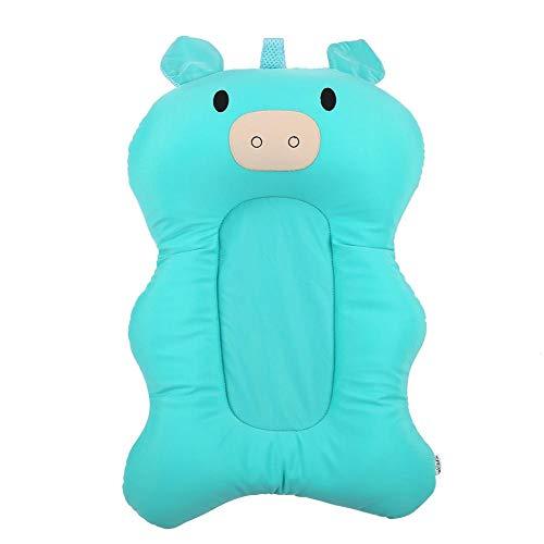 Baby Badematte Nettes Schwein Form Tragbare Badewanne Sitz Infant Badewanne Matte Luftpolster Neugeborenen Bad Pad für Baby Dusche(Hellgrün) (Baby Infant Badewanne Sitz)