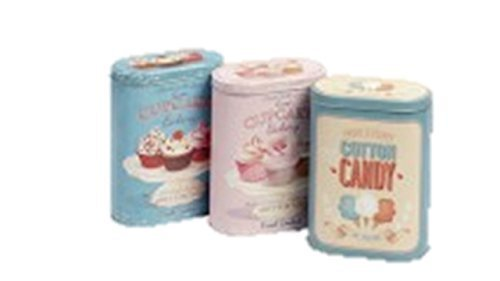 3 Latas de nostalgia latas café té Azúcar cuadro de lista Metal Env