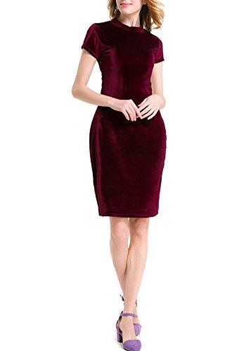 Donne Bodycon Velluto Vestito Abito Manica Corta Cocktail Vestiti Vino Rosso