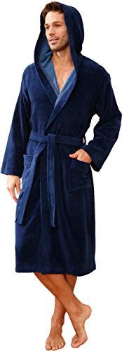Morgenstern Bademantel mit Kapuze für Herren blau, Marine, XL