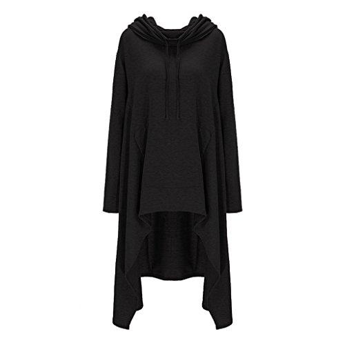 ASSKDAN Damen Casual Langarm Unregelmäßige Pullover mit Kapuzen Sweatshirt Tunika Bluse Oversize Minikleid (XL, Schwarz) (Kapuzen-langarm-tunika)