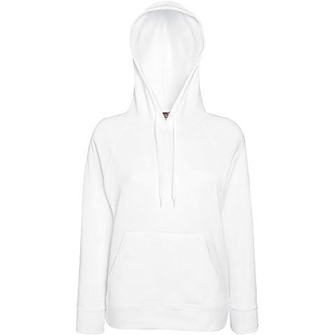 Fruit Of The Loom Ladies Lady Fit Lightweight Hooded Sweatshirt White
