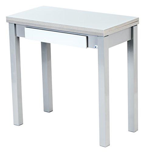 Portus Libro - Mesa de Cocina, 80 x 40/80 cm, con cajón, Color Blanco