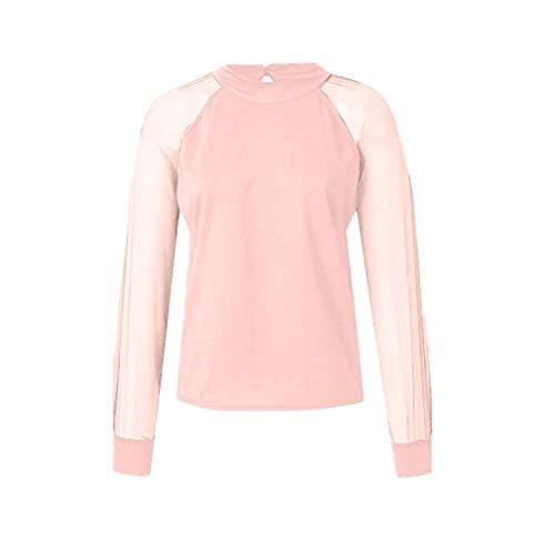 Langarmshirt Damen T-Shirt FGHYH Art- und Weisefrauen-Sommer-beiläufige volle Hülsen-Oansatz-Gaze-Feste Leibchenperspektive Bluse(M, Rosa) -