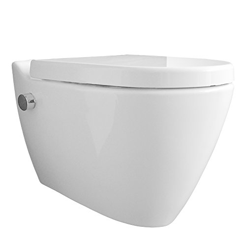 Dusch WC Temtasi Mineral MA5201NA mit integrierter Mischarmatur und WC-Sitz. Bidet und WC kombiniert, spülrandlos, Edelstahldüse, wandhängend, Japantoilette, Shataff, Taharet, Taharat