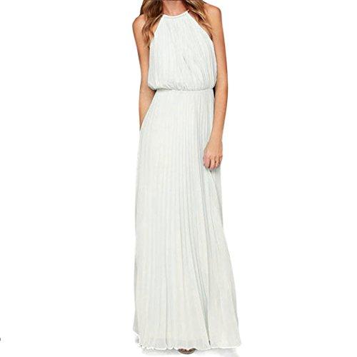 MIOIM Femmes Robes de Soirée Longues élégant Sans Manches en Mousseline Demoiselle d'Honneur Cocktail Blanc