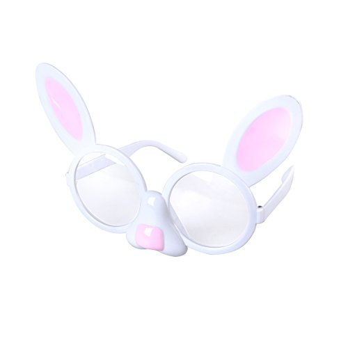 Tinksky Bunny Shaped Glasses Lustige Brillen Cute Dress Up Brillen Requisiten Neuheit Sonnenbrille mit klaren Linsen für Ostern Party Lieferanten