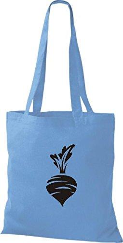 ShirtInStyle Stoffbeutel Baumwolltasche Dein Lieblings Obst und Gemüse Rübe Rettich Farbe Pink hellblau