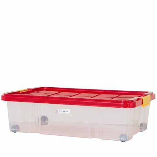 Unimet Unterbettbox mit Rollen 60x40x18cm,     Box transparent, Deckel  farblich sortiert