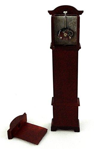 Miniatura Per Casa Delle Bambole Funzionante Quarzo Mogano Orologio A Pendolo