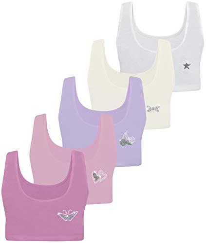 PiriModa 5 Mädchen Bustier Baumwolle Strass Glitzer (146-158, Modell 2-5 Stück) -