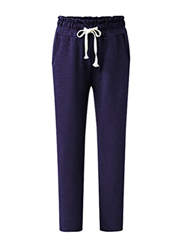 Donna Pantaloni Lunghi In Maglia Sportivi Harem Pantaloni Jogging Pantaloni Tasche Casual Baggy Blu