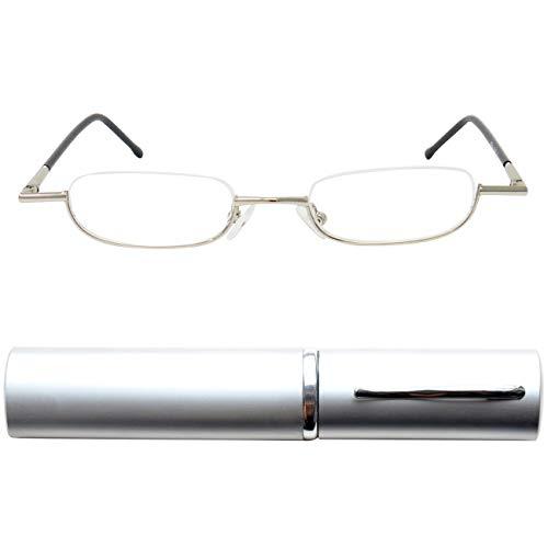 Leichte Metall Mini Halbbrille Lesebrille | Edelstahl Rahmen (Silber) | mit GRATIS Slim-Fit Alu Etui | Lesehilfe für Damen und Herren von Mini Brille | +1.0 Dioptrien