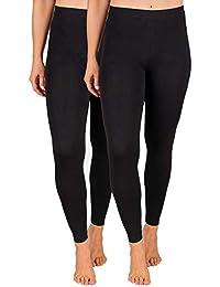 SES Damen Leggings 2er Pack schwarz Baumwolle