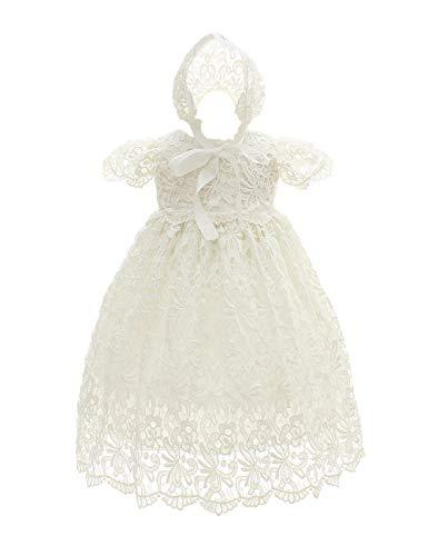 besbomig Infant Kurze Ärmel Prinzessin Kleid Formal Taufkleid Festlich Kleid - Süßes Baby Mädchen Hochzeit Partykleid Festzug Babybekleidung mit Bonnet -