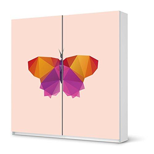 Möbelsticker für IKEA Pax Schrank 201 cm Höhe - Schiebetür | Designfolie Bedruckte Klebe-Folie Möbel dekorieren | Wohnen & Dekorieren Wohnzimmer Deko Bilder | Design Motiv Origami Butterfly