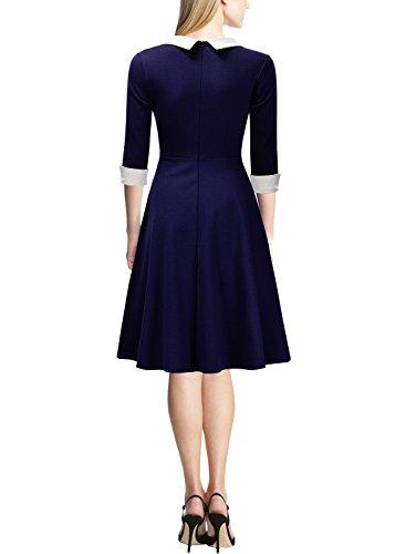 Miusol® Damen Knielang 1/2 Arm Rundhals Vintage Kleid Abendkleid Rockabilly Festlich Kleider Blau Gr.M - 2