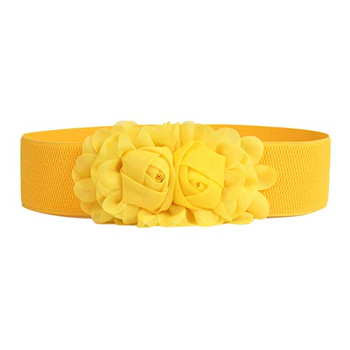 Cinturon de Mujer amarillo con hebilla de flores