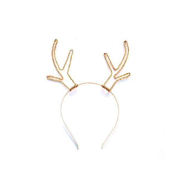 Elegant Gold Wire Reindeer Antlers Headband 31izG91TIAL
