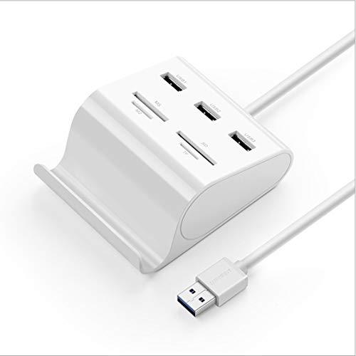 FUNXS USB-Kartenleser USB 3.0-Hub 3 Anschlüsse mit SD TF MS M2-Kartenadapter und Phone Stand Dock Combo für iMac, MacBook Pro Air, MacBook Retina, Mac Mini, Windows® Surface Pro, IdeaPad, PC, Laptop,