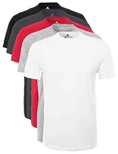 Lower East Herren T-Shirt mit Rundhalsausschnitt, 5er Pack, Mehrfarbig(Weiß/Grau Melange/Rot/Forged Iron/Schwarz), X-Large -