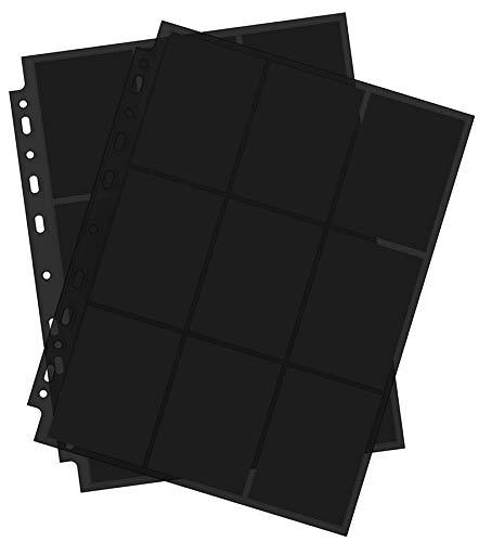 Arkero-G 10x Premium Pro 18-Pocket Pages Black - Standard Größe Schwarze Ordnerseiten Sammelmappe / Sammelkarten z.B. für MTG Magic, Pokemon Karten