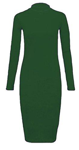 Damen Ebene Rollkragen-Ausschnitt Langarm Körper Con Midi -Kleid Flaschen Grün