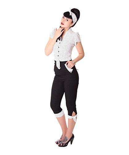 SugarShock Latisha Damen Caprihose Polka Dots 3/4 Hose, Größe:XL, Farbe:schwarz Weiss
