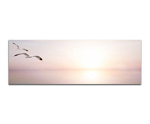 Bilder Wand Bild - Kunstdruck 120x40cm Meer Sonnenlicht Möwen abstrakt