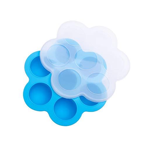 Kuizhiren1 Form 7 Gitter Sommer DIY Eisball Silikon Form Baby Food Gefrierfach Box mit Deckel Blau blau