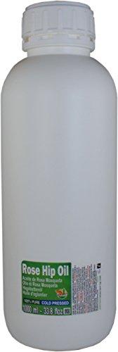 Aceite de Rosa Mosqueta 100% Puro. Botella 1 Litro - Origen Chile - Virgen Extra, Natural, Producto de Origen Sustentable. Uso profesional recomendado